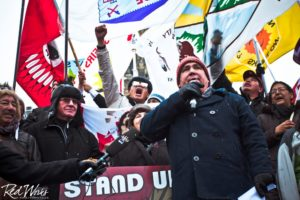 Clayton Thomas-Muller speaking at the Idle No More Rally Parliament Hill Ottawa, ON Dec. 21, 2012 All images: (c) Nadya Kwandibens/ Red Works Studio