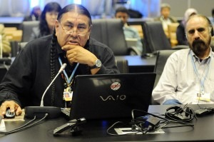 Tom Goldtooth, speaking for Indigenous Peoples at the United Nations Framework Convention on Climate Change – 18th Conference of the Parties (COP 18) Doha, Qatar Photo Credit: iisd Reporting Services http://www.iisd.ca/climate/cop18/enb/28nov.html