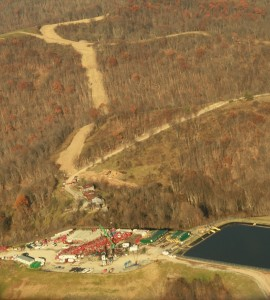 Hydraulic fracturing operation near private homes in Wetzel County, West Virginia, November 2012 (photo by SkyTruth; aerial overflight provided by LightHawk).