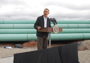 "Last spring, President Obama made a special trip on Air Force One to the ""Pipeline Crossroads of the World"" to call for fast-track approval of the southern (OK-TX) leg of TransCanada's Keystone XL tar sands pipeline."