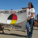 Debra White Plume (right) at Eagle Butte, SD protesting Keystone XL.