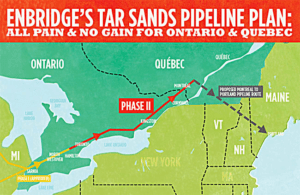 "Line 9 was built in 1975 and is now configured to transport imported oil from Montreal to refineries in Sarnia. Enbridge has now applied to Canada's National Energy Board to reverse its direction of flow, so that it can pipe Alberta oil to Montreal. The pipeline giant admits that among the possible uses of Line 9 is transport of ""heavy oil,"" a category that includes bitumen, the hazardous raw material extracted from tar sands. (excerpt: JohnRiddle.wordpress.com"