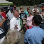 U.S. Rep. Tim Griffin talks with constituents in the parking lot of Stroud's Country Diner in Mayflower