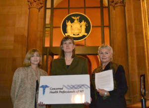 Dr. Sheila Bushkin, Sandra Steingraber, and Dr. Larysa Dyrska, all of Concerned Health Professionals of NY.