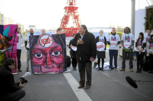 Tom Goldtooth NoREDD Action Paris COP21